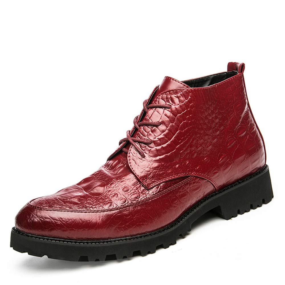 Dundun-Stiefel Dundun-Stiefel Dundun-Stiefel 2018 Neue Kommende Stiefel, Herren Stiefeletten Individuelle Textur Pure Farbe Lace Up Hohe Stiefel (Farbe   Rot, Größe   42 EU) c82e1b