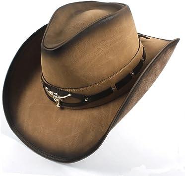QiuKui Chapeau de Cowboy et Chapeau Chapeau de Cow-Boy avec t/ête de Taureau Western Jazz pour Homme 2018 Couleur : Naturel, Taille : 58-59cm