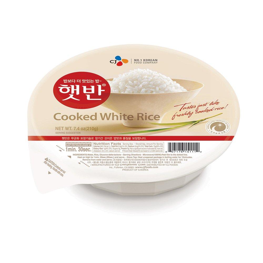 CJ Hetbahn Cooked White Rice, Gluten-Free, Vegan, Microwaveable, 7.4-oz (Pack of 12) by CJ