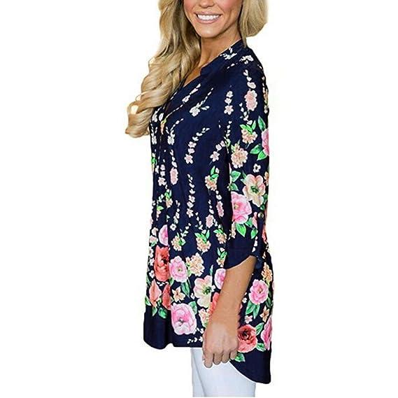 DEELIN Camisa De La Manga De La Solapa De La ImpresióN Floral De La Fractura del V-Cuello De La Moda De Las Mujeres De La Moda Superior Ropa De La Navidad: ...