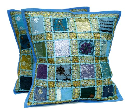 (Embroidery Sequin Patchwork Indian Sari Throw Pillow Cushion Covers)