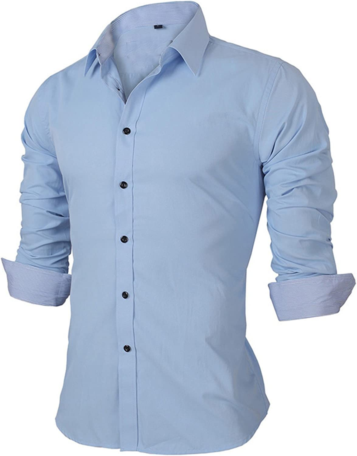 KEBINAI Handsome,Slim NEW Spring Mens Shirts Long-sleeved Business Casual Stitching Solid Arrival Dress Cool