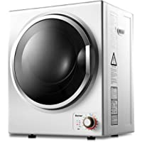 COSTWAY Compact Laundry Dryer, 10LBS Capacity Electric Portable Clothes Dryer with Stainless Steel Tub, Control Panel Downside Easy Control for 4 Automatic Drying Mode, White