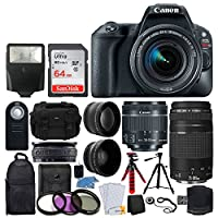 Canon EOS Rebel SL2 DSLR Camera + EF-S 18-55mm IS STM + EF 75-300mm III + 64GB Memory Card + Wide Angle & Telephoto + Wireless Remote + Slave Flash + Tripod + Case & Backpack – Full Bundle