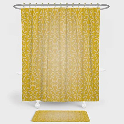 Yellow Shower Curtain And Floor Mat Combination Set Diagonal Swirling Ornate Victorian Damask Patterns On Retro