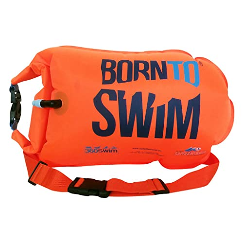 BORN TO SWIM SaferSwimmer Dry Bag and Buoy for Open Water Swimming and Triathlon • Robust Visibility Tow Float for Safer Swimming •