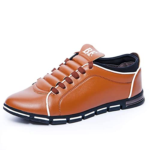 Zapatos de Cuero Hombre Oxford Cordones Derby Zapatos de Negocios Uniforme Vestir Punta Boda Formales Casual Zapatillas Cómodos Negro Marrón Amarillo 38-48: ...