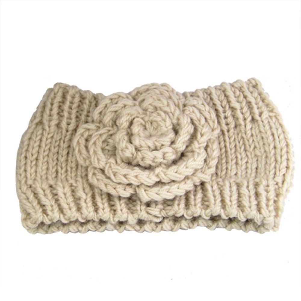 Yahee Haarband gestrickt Stirnband Headband Strickmütze mit Vintage Blume (weiß)