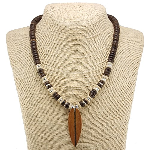 BlueRica Wood Surfboard Pendant on Coconut Beads Necklace -