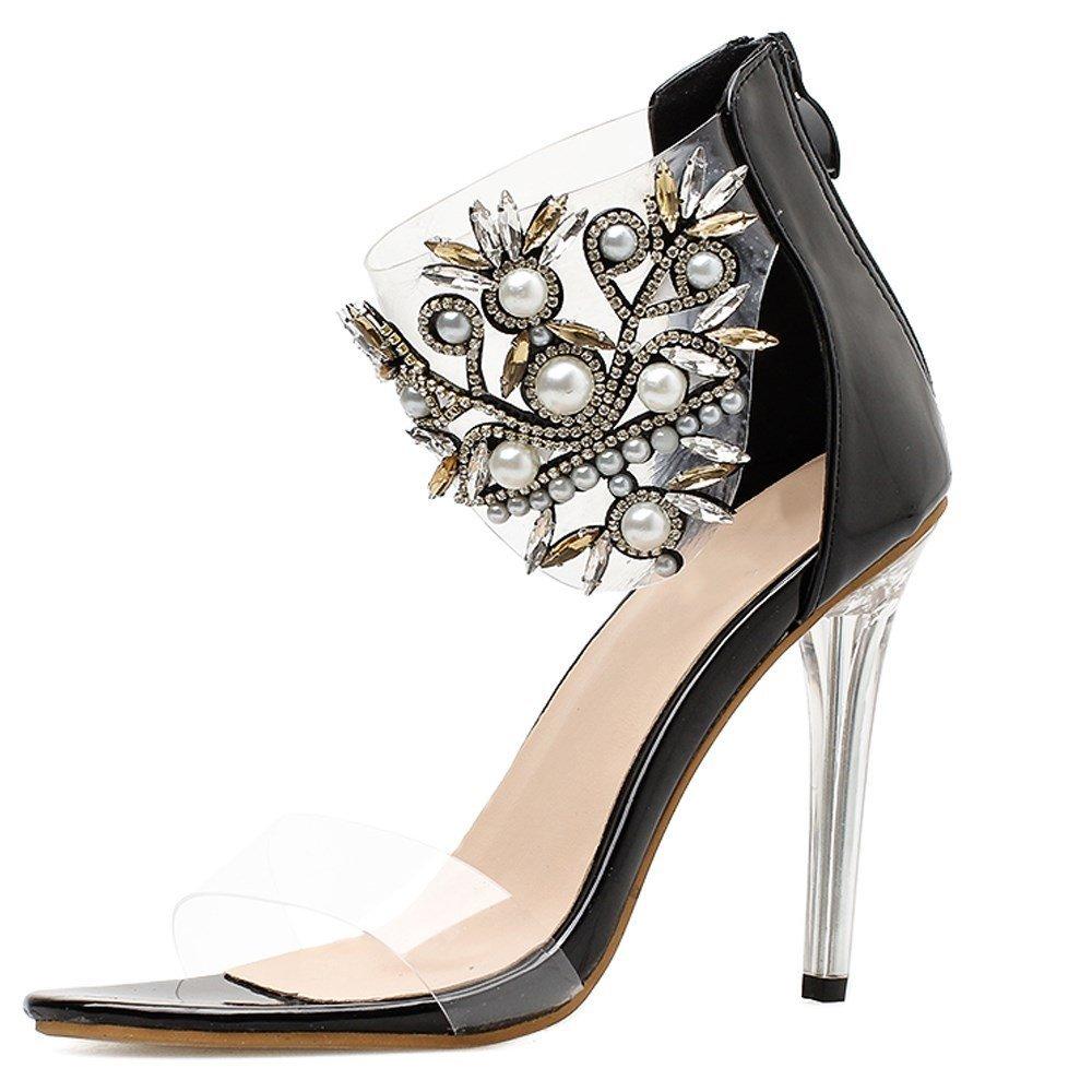 GoldGOD Damen Damen Damen Damen Hochhackige Nieten Superfeiner Kristall Mit Offener Spitze Bestickte Transparente Sandalen,schwarz,36 ee13cb