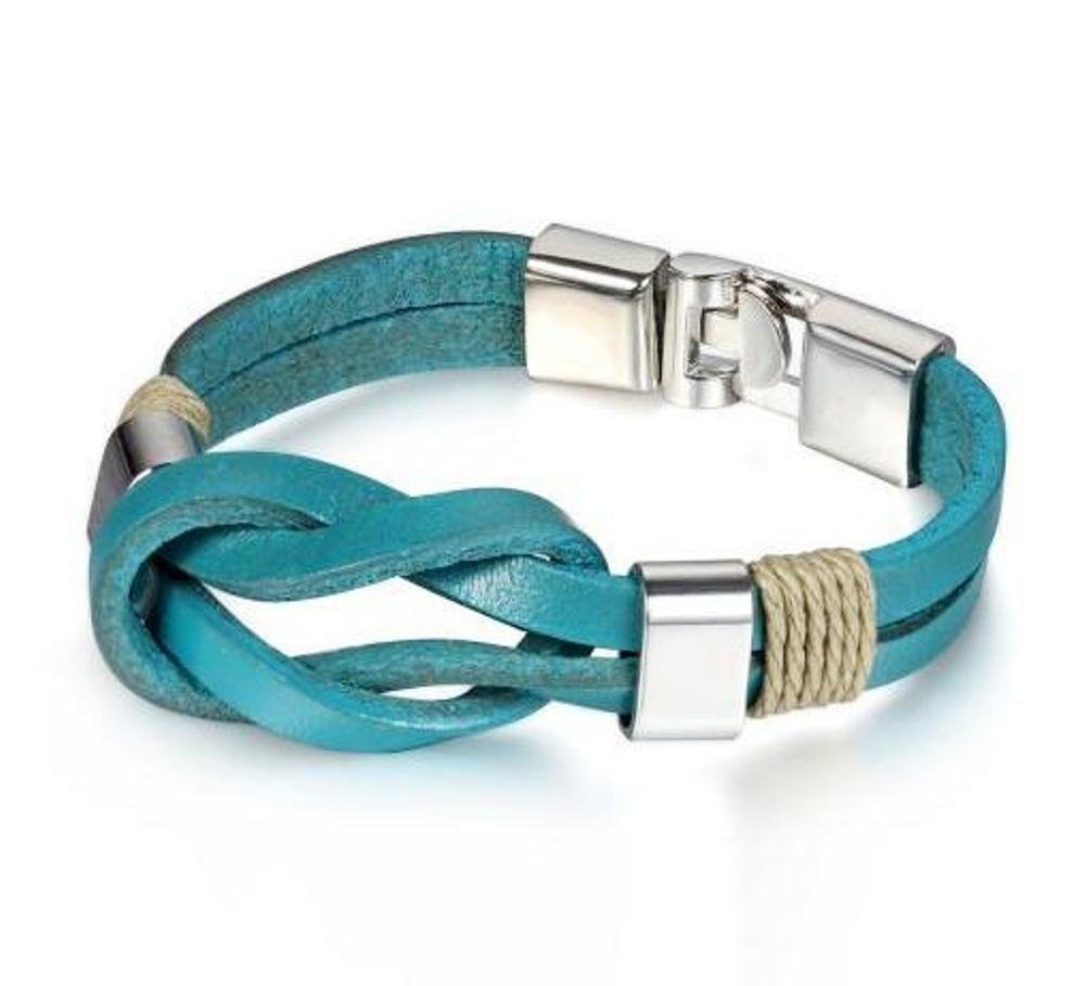 21cm Blue Leather Infinity Bracelets For Men And Women