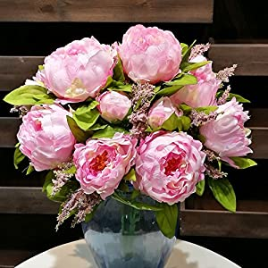 HILINGO 1 Bunch Hight Quality Fake Peony Artificial Flower Bouquet Home Office Decor Without Vase Dark Pink 112