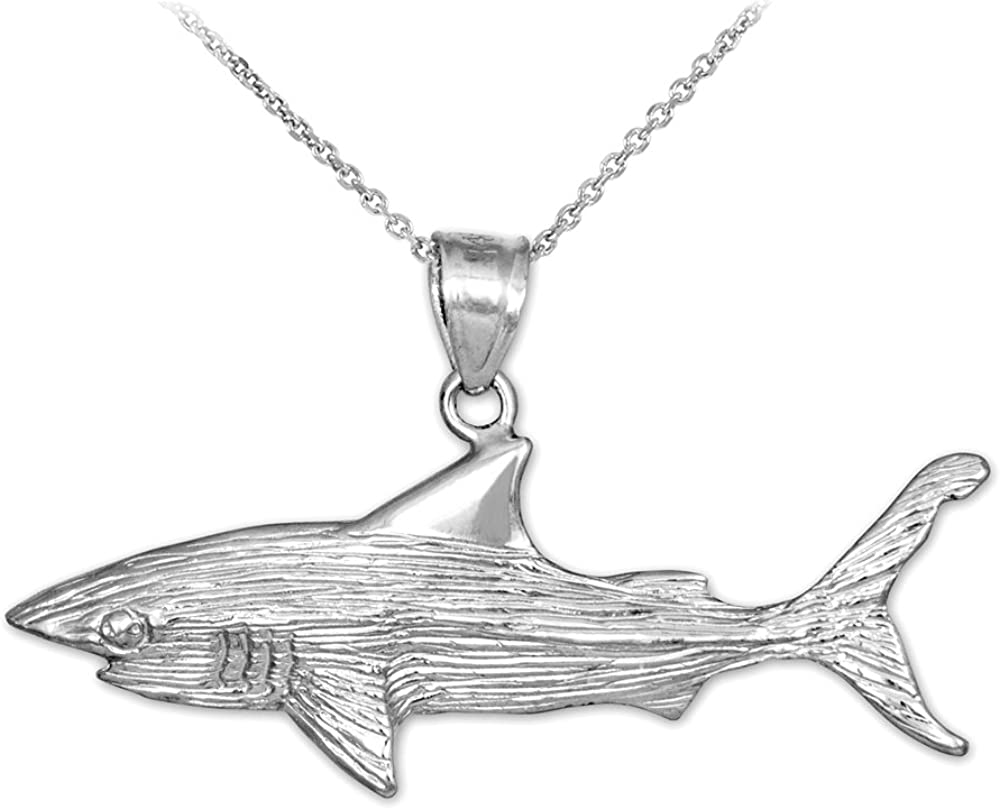 Sea Life Collection 925 Sterling Silver Textured Charm Great White Shark Pendant Necklace