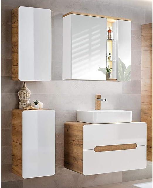 BadmBel Set Mit Spiegelschrank  Barcelona Badmobel Set 100 Cm Grifflos Waschtisch Evermite Mit ...