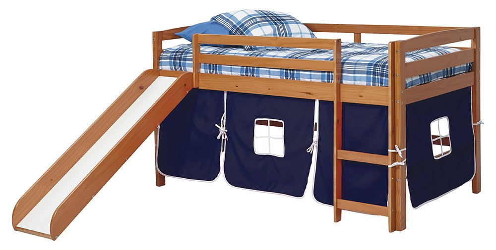 Woodcrest ST-4500B Honey Wood Finish Tent Bed with Slide, Twin, Blue