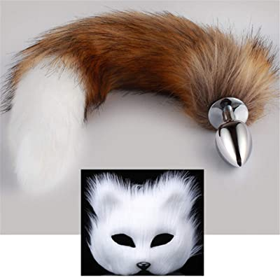 Brown-White Three Sizes Fluffy Faux Fox Tail & Fox Mask Charms Role Play Costume Party Cosplay Prop (White, S): Toys & Games