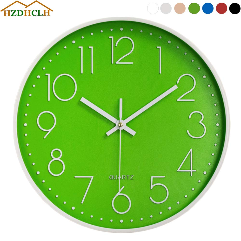 White HZDHCLH Wall Clocks 12 Inch Silent Non Ticking/Solar Movement Clock for Living Room Bedroom Kitchen Office