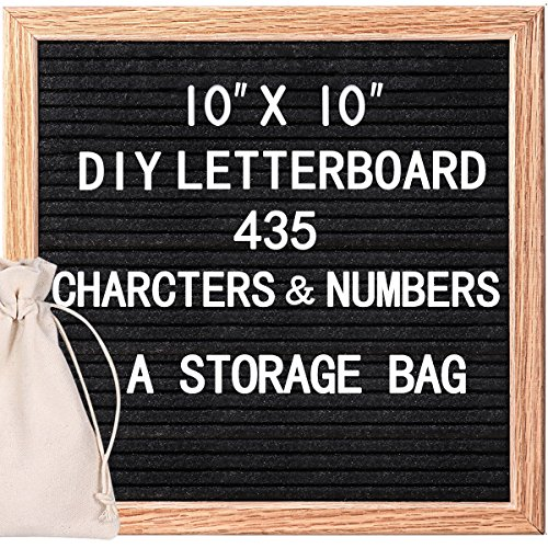 HOMEMAXS Changeable Felt Letter Board Message Board 10x10 Inches with 435 Letters Numbers & Symbols, Black Felt Letter Board, Felt Board, Word Board, Sign Board With Free Storage Bag