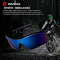 RIVBOS 805 POLARIZED Sports Sunglasses Glasses with 5 Set Interchangeable Lenses for Cycling