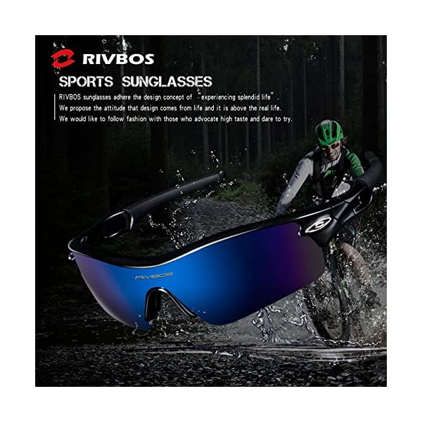 09fd1002d9 RIVBOS 805 POLARIZED Sports Sunglasses Glasses with 5 Set Interchangeable  Lenses for Cycling