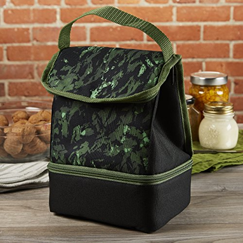 Fit & Fresh Boys' Austin Insulated Lunch Bag with Dual Compartments, Zipper closure (Green Jungle)