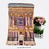 """VROSELV Cotton Microfiber Bathroom Bath Towel-view of one of the residential houses in mdina with traditional maltese style open balconies and Custom pattern of household products(9.8""""x39.4"""")"""