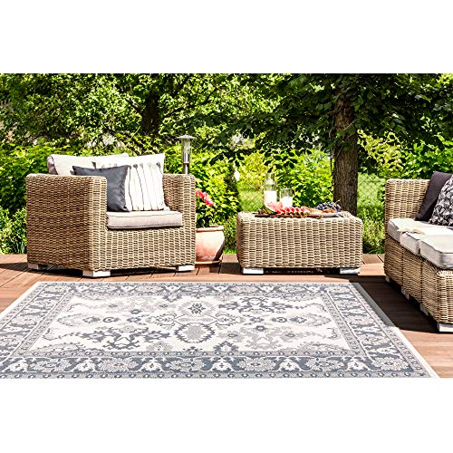 Home Dynamix Nicole Miller Patio Country Ayana Indoor/Outdoor Area Rug 7'9''x10'2'', Traditional Gray/Blue by Home Dynamix (Image #8)
