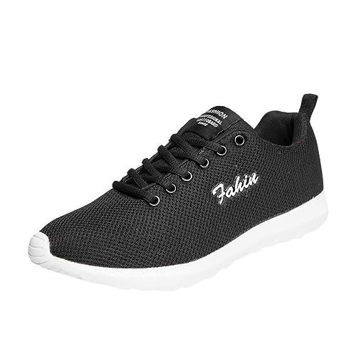 LHWY Zapatillas Mocasines de Deportes Moda de Pareja Zapatos para Correr Informales Zapatos de Malla Transpirables Zapatillas con Cordones: Amazon.es: ...