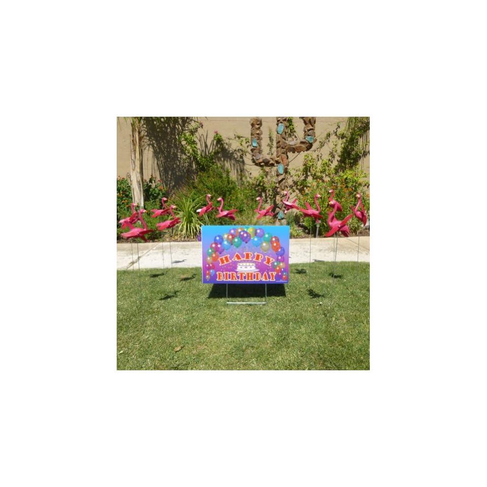 12 Pink Flamingo Twirlers and 1 Happy Birthday Sign