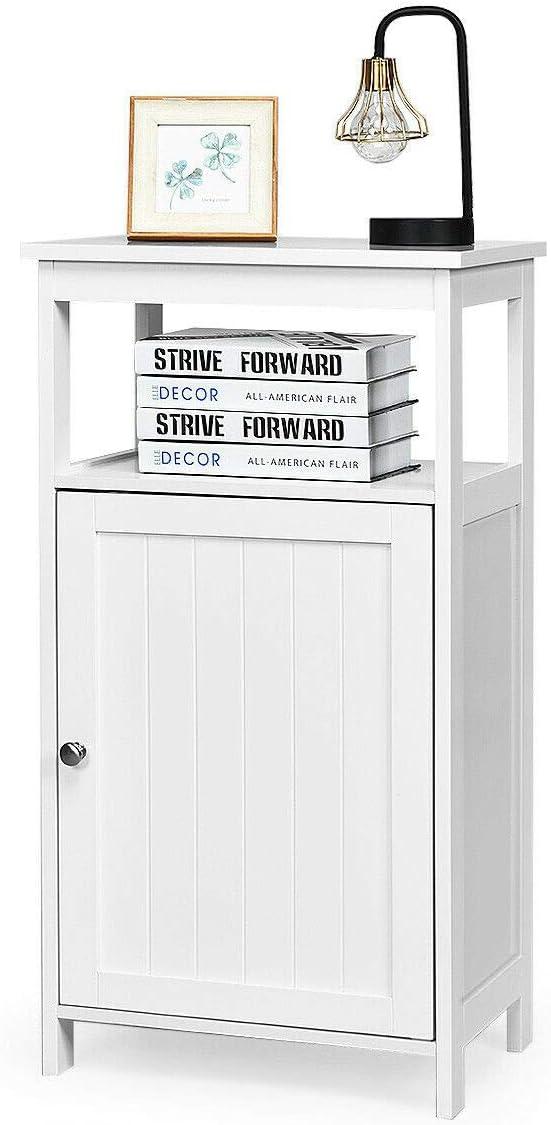 GLACER Bathroom Floor Storage Cabinet, Single Door Wooden Free Standing Side Cabinet with Open Shelf, Adjustable Shelf, Ideal for Bathroom, Living Room, Bedroom, 18 x 12 x 33 inches White