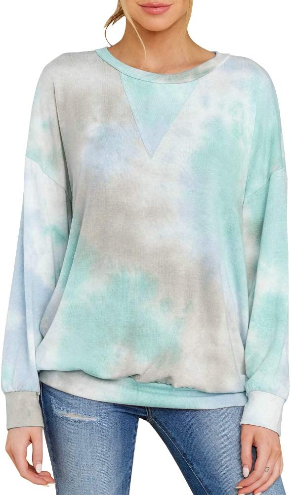 Womens Tie-dye Long Sleeve Tops T-Shirts Ladies Lace Casual Loose Jumper Blouse