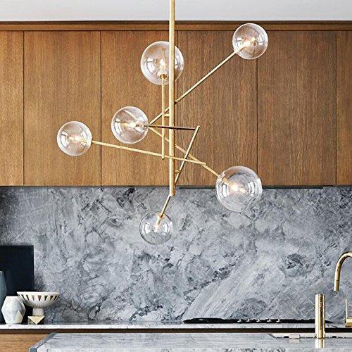 Moderne Pendelleuchten Glaskugel Deckenleuchte für Wohnzimmer Kugel Hanglamp Küchebefestigungen suspension Leuchte Beleuchtung, Braunglas, 6 Köpfe