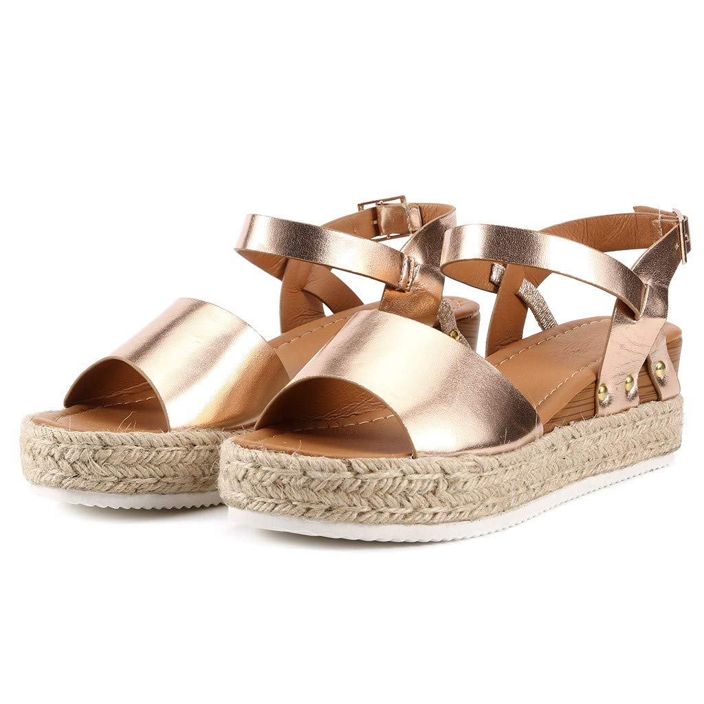 Sharemen Women's Open Toe Strappy Mid Wedge Heel Wood Decoration Buckle Shoes Sandals (Gold,US: 7.5) by Sharemen Shoes (Image #6)