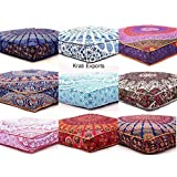 """5 Pcs Large Mandala Floor Pillows Wholesale Lot Square Indian Cushion Cover 35"""" Oversized Cushion Cover Cotton Seating Ottoman Poufs Dog / Pets Bed Sold By Handicraft-Palace"""