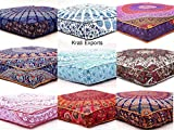 KRATI EXPORTS 5 Pcs Large Mandala Floor Pillows Wholesale Lot Square Indian Cushion Cover 35