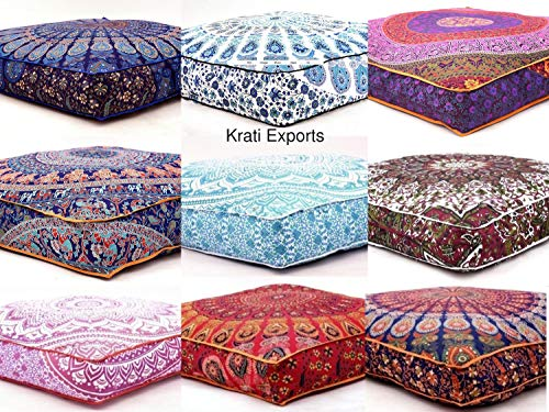 "KRATI EXPORTS 5 Pcs Large Mandala Floor Pillows Wholesale Lot Square Indian Cushion Cover 35"" Oversized Cushion Cover Cotton Seating Ottoman Poufs Dog/Pets Bed Sold"