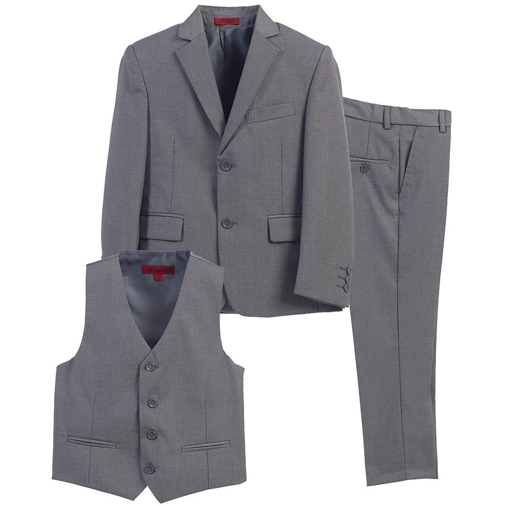 Big Boys Gray Vest Pants Jacket Special Occasion 3 Pcs Suit 8-16 B-One