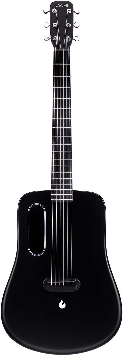 LAVA ME 2 Guitarra de fibra de carbon con efectos Guitarra Acústica Eléctrica de Viaje con bolsa Picks y Cable de carga (FreeBoost, Negro, 36 Inch)