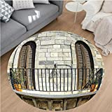 Nalahome Modern Flannel Microfiber Non-Slip Machine Washable Round Area Rug-m Valencia Spain Daylight Mediterranean Residence Entering Old City Image Peru Ivory Gray area rugs Home Decor-Round 71''