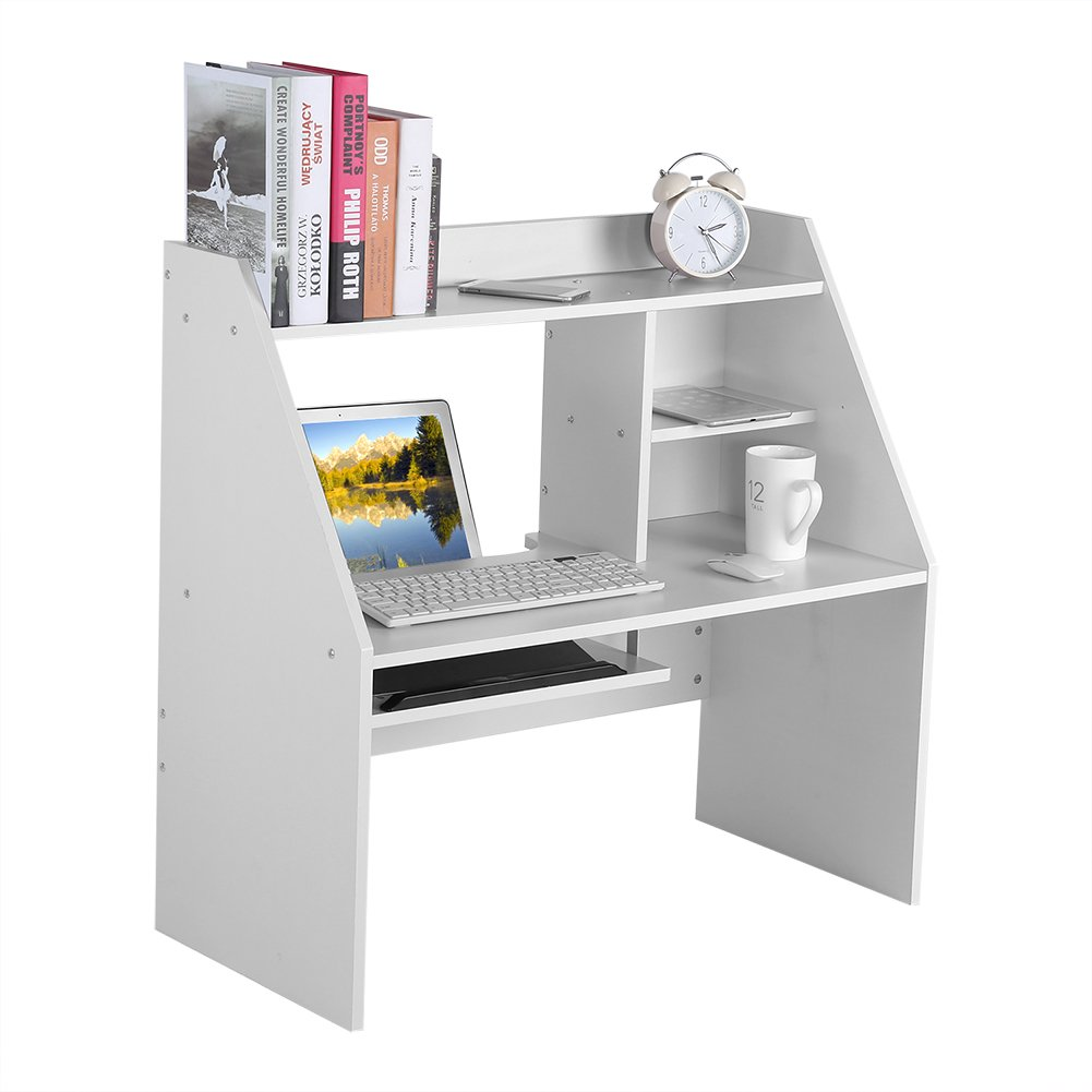 Dwawoo Wooden Storage Shelf, Multifunction Bed Computer Laptop Desk Bed Table for Dormitory Bedroom and More(White) by Dwawoo (Image #7)