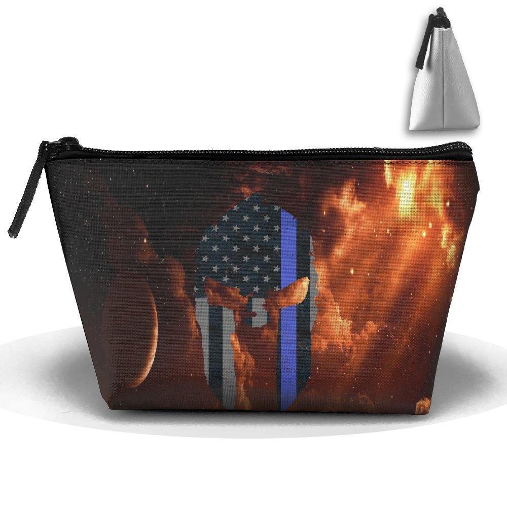 American Skull Thin Blue Line Flag Portable Make-up Receive Bag Storage Capacity Bags For Travel Hanging