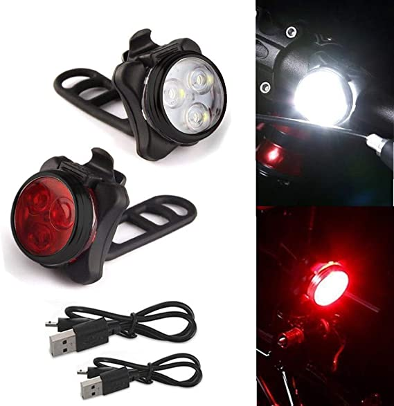 Bicycle Headlight Front Bike Light Set LED USB Rechargeable Headlamp /& USB cable