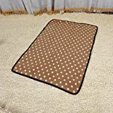 Mikey Store Warm Pet Mat Small Large Paw Print Cat Dog Puppy Fleece Soft Blanket (M, Brown)