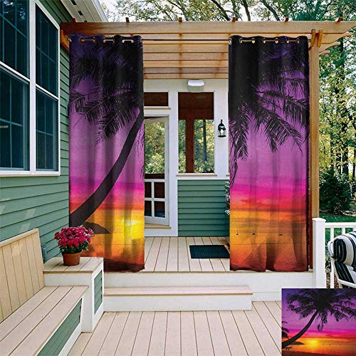 - leinuoyi Tropical, Outdoor Curtain Ends, Palm Tree Silhouette on Beach at Sunset Summertime Travel Destination, Balcony Curtains W96 x L108 Inch Purple Orange Black
