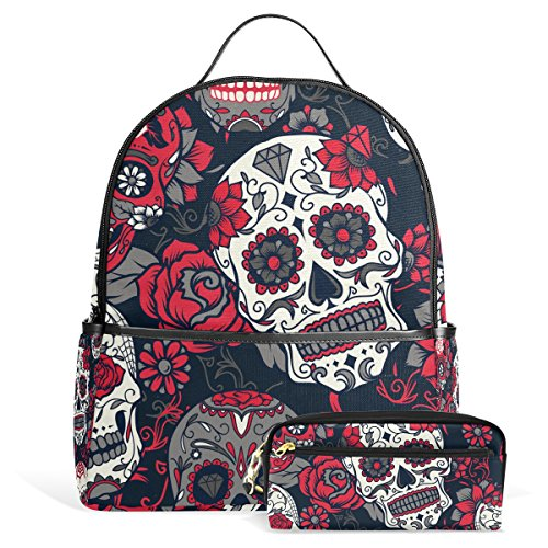 Sugar Skull Dia De Los Muertos Unisex Rucksack Canvas Satchel Casual Daypack ,School College Student Backpack with Pencil Case (Vinyl 4 Piece Nurse Costume)
