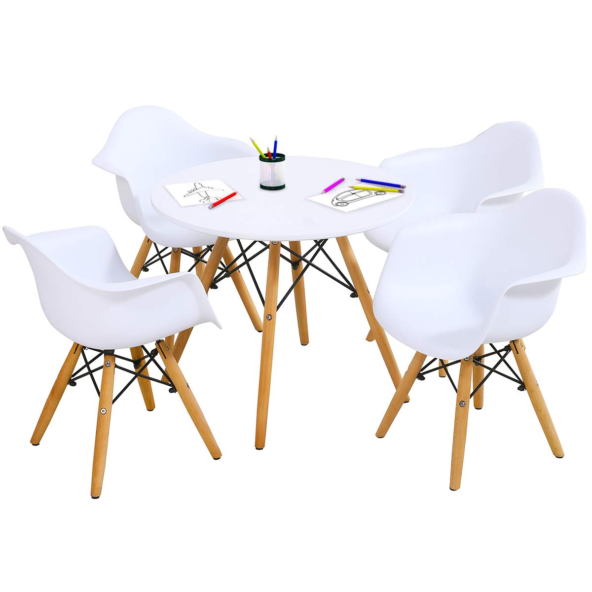 Costzon Kids Mid-Century Modern Style Table Set, Kids Table and Chair Set, Round Table with Armchairs for Toddler Children, Kids Dining Table and Chair Set (White, Table & 4 Chairs) by Costzon