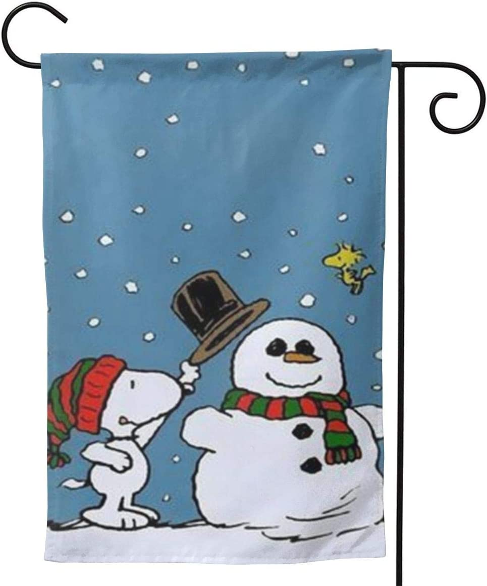 HijingTT Custom Garden Flag Peanuts Snoopy Merry Christmas Personalized Garden Flag Yard Flag 12.5 X 18 Inches/28 X 40 Inches (Double-Sided)