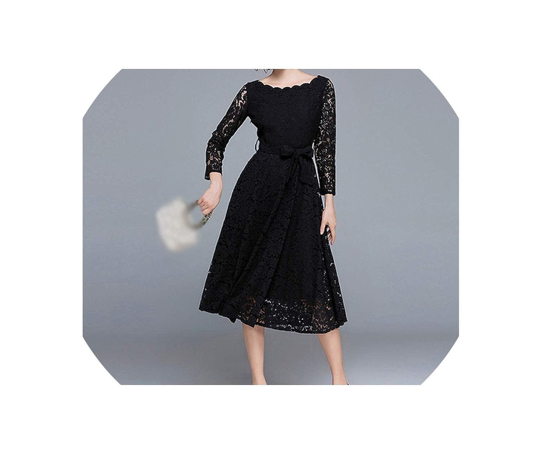 Black HeatTracing Vintage Dress Women Elegant White Lace Dress Black Evening Party Dresses