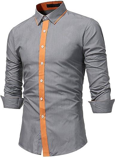 Winwintom -Camisas Hombre Manga Larga, Blusa Suelta Casual Transpirable Top De Manga Larga Camisas Cuello Alto De Color SóLido Blusas De Trabajo, Camisa De Hombre, M L XL 2XL: Amazon.es: Ropa y