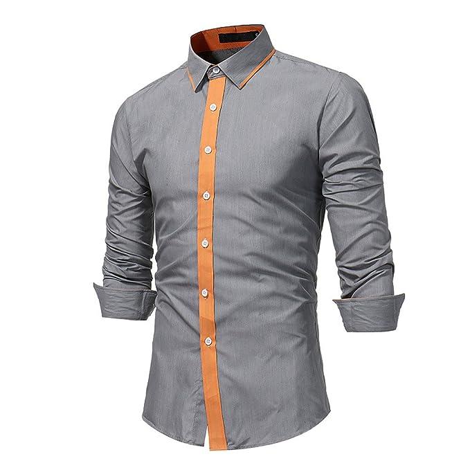 40556fe303 Camicia Uomo LandFox Slim Fit Camicetta Superiore da Uomo Manica ...
